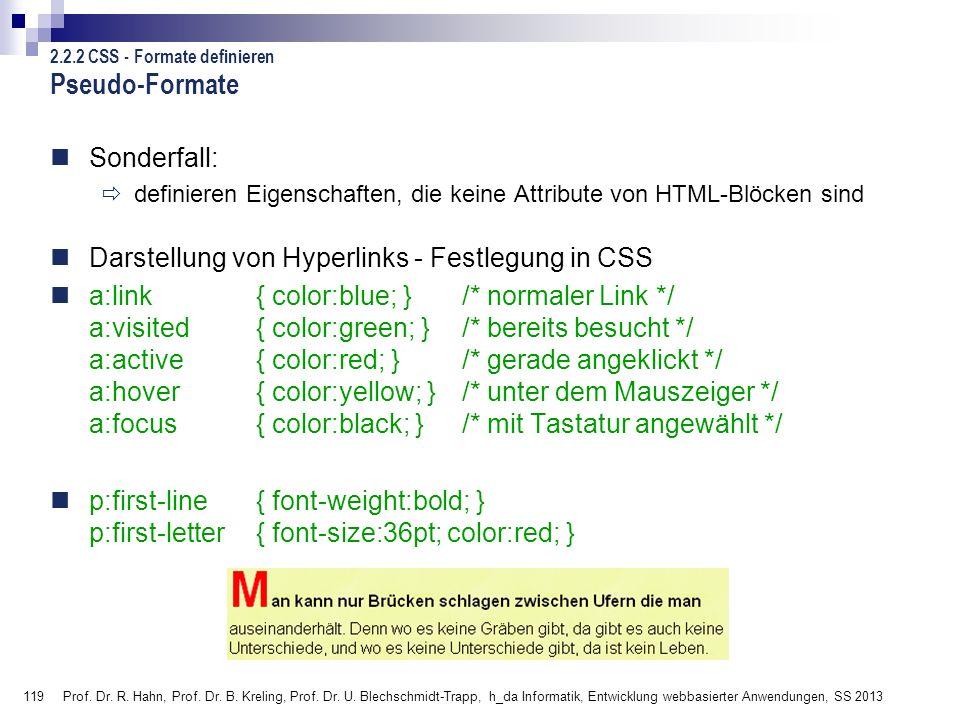 Pseudo-Formate Sonderfall:
