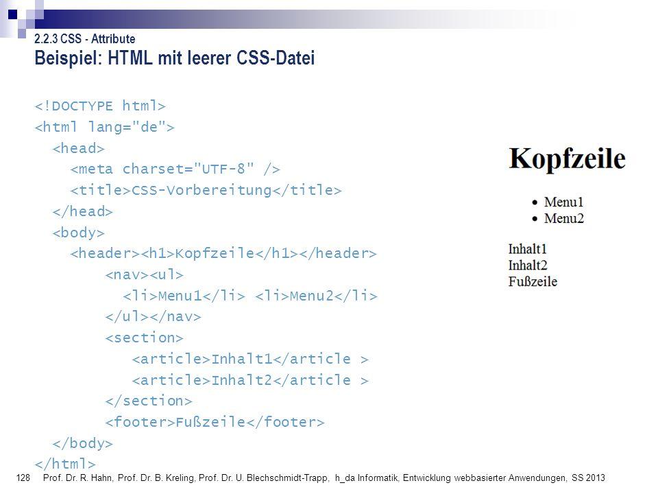 Beispiel: HTML mit leerer CSS-Datei