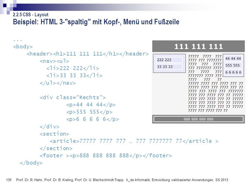 Beispiel: HTML 3- spaltig mit Kopf-, Menü und Fußzeile