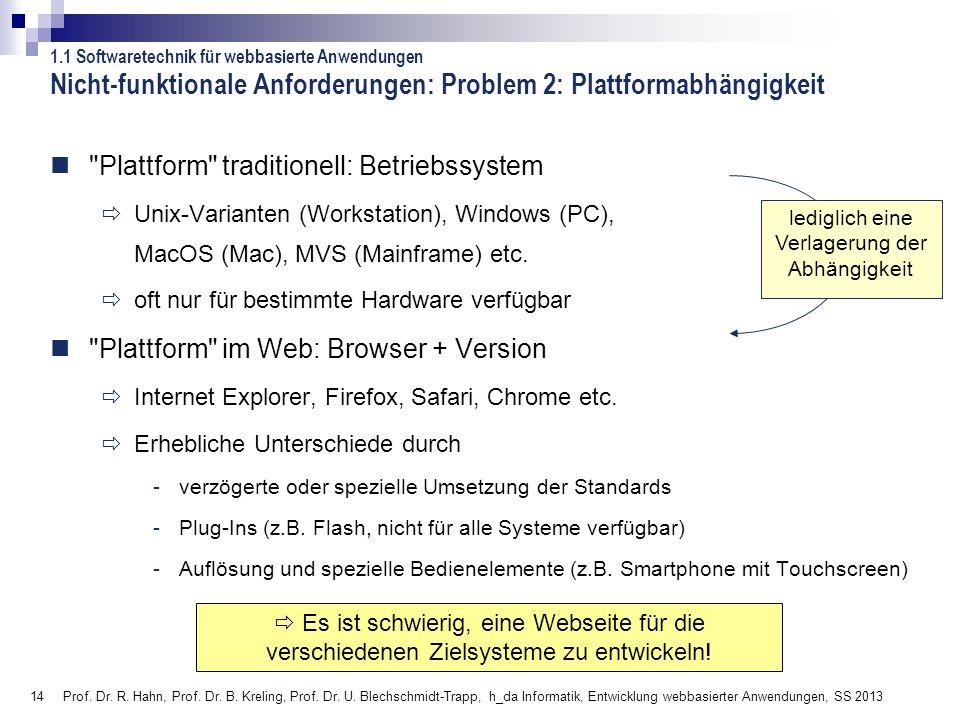 Nicht-funktionale Anforderungen: Problem 2: Plattformabhängigkeit