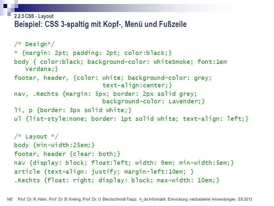 Beispiel: CSS 3-spaltig mit Kopf-, Menü und Fußzeile