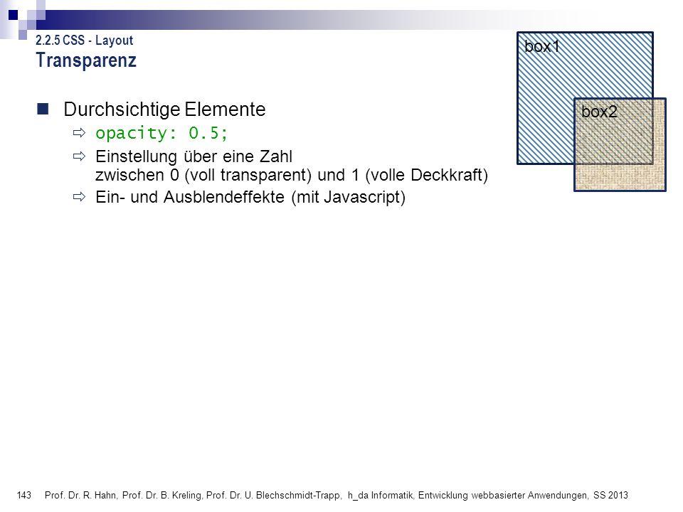 Transparenz Durchsichtige Elemente box1 box2 opacity: 0.5;