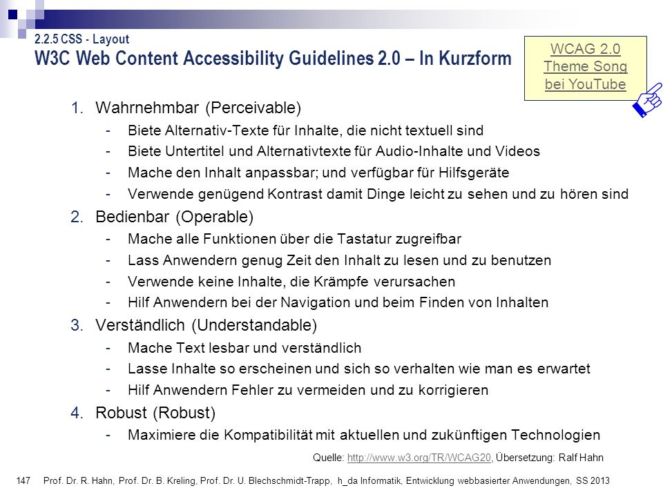 W3C Web Content Accessibility Guidelines 2.0 – In Kurzform