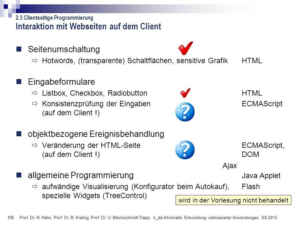 Interaktion mit Webseiten auf dem Client