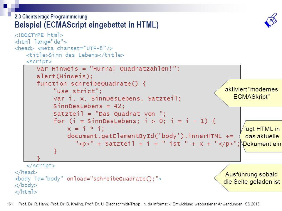 Beispiel (ECMAScript eingebettet in HTML)