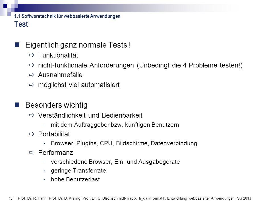 Test Eigentlich ganz normale Tests ! Besonders wichtig Funktionalität
