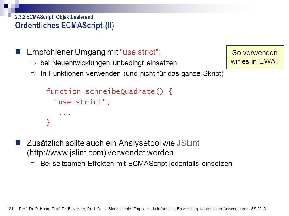 Ordentliches ECMAScript (II)