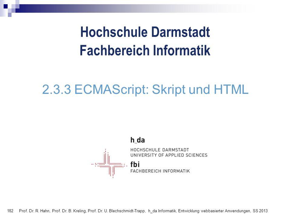 2.3.3 ECMAScript: Skript und HTML