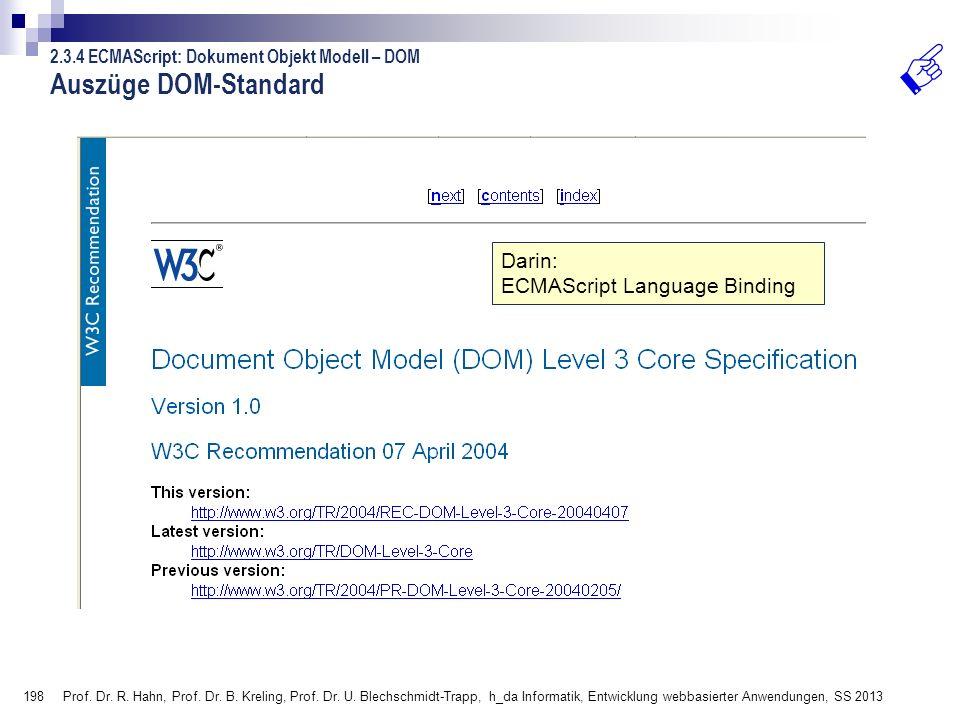 Auszüge DOM-Standard Darin: ECMAScript Language Binding
