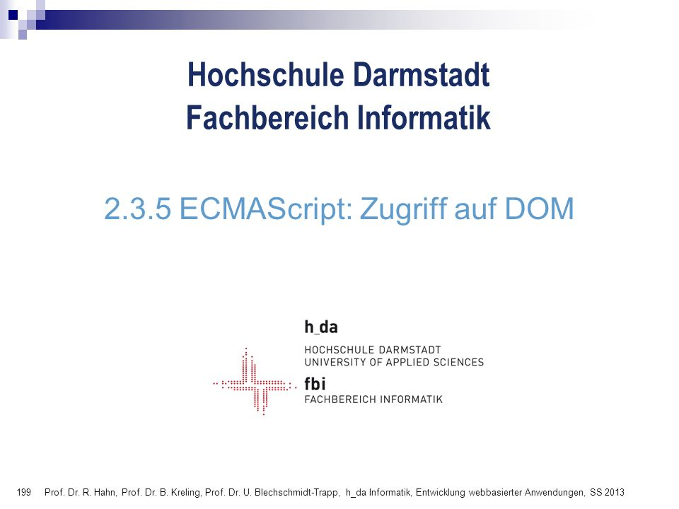 2.3.5 ECMAScript: Zugriff auf DOM