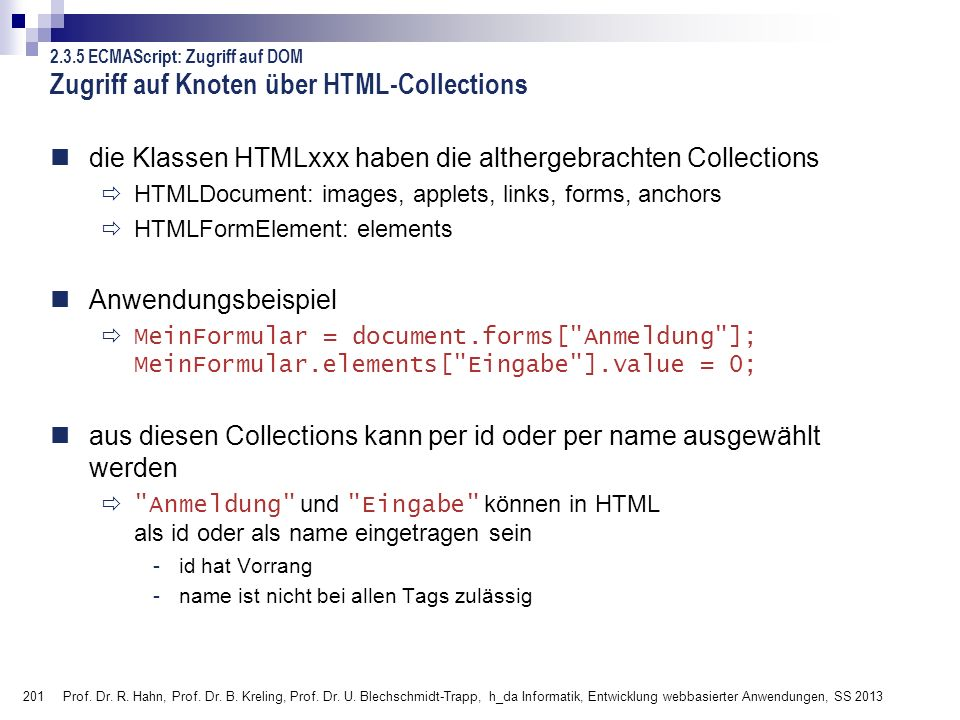 Zugriff auf Knoten über HTML-Collections