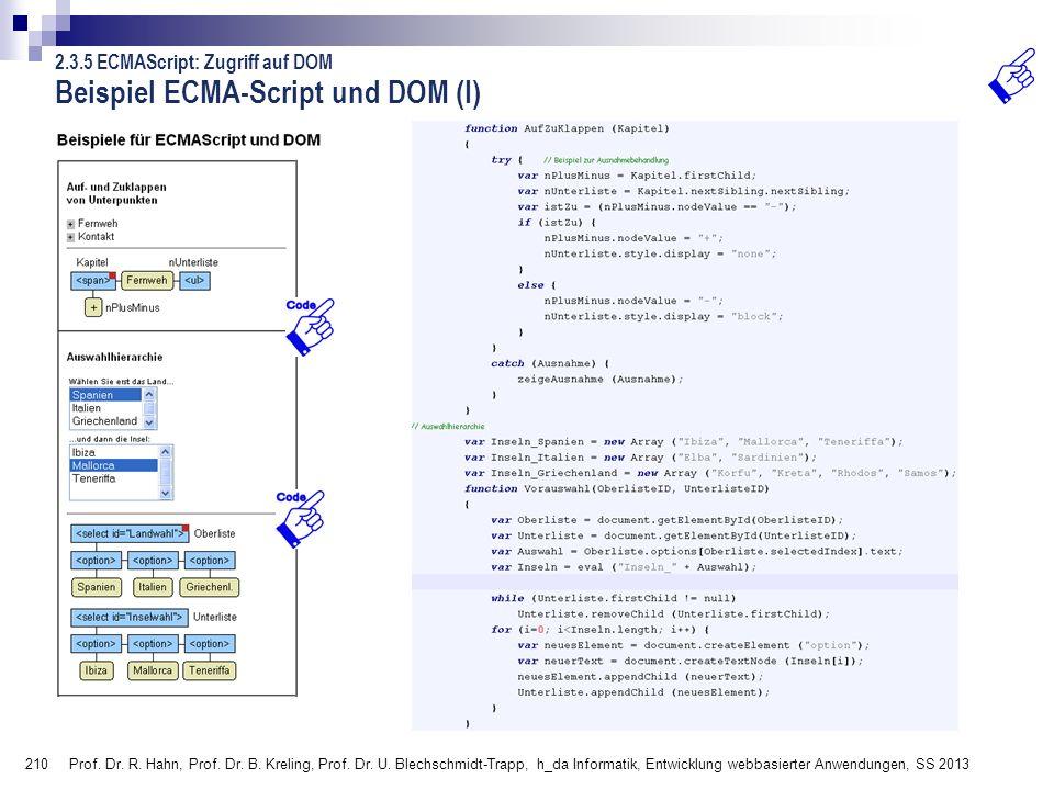 Beispiel ECMA-Script und DOM (I)