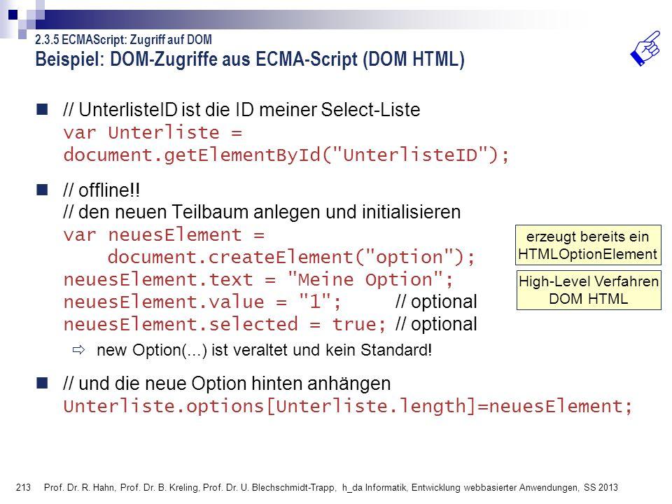 Beispiel: DOM-Zugriffe aus ECMA-Script (DOM HTML)