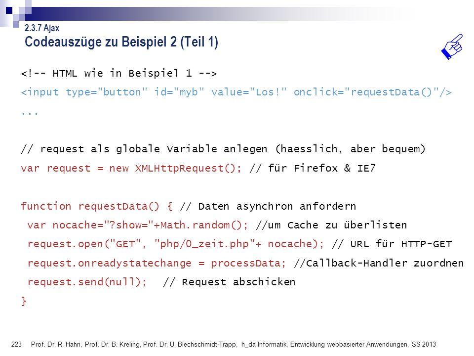 Codeauszüge zu Beispiel 2 (Teil 1)