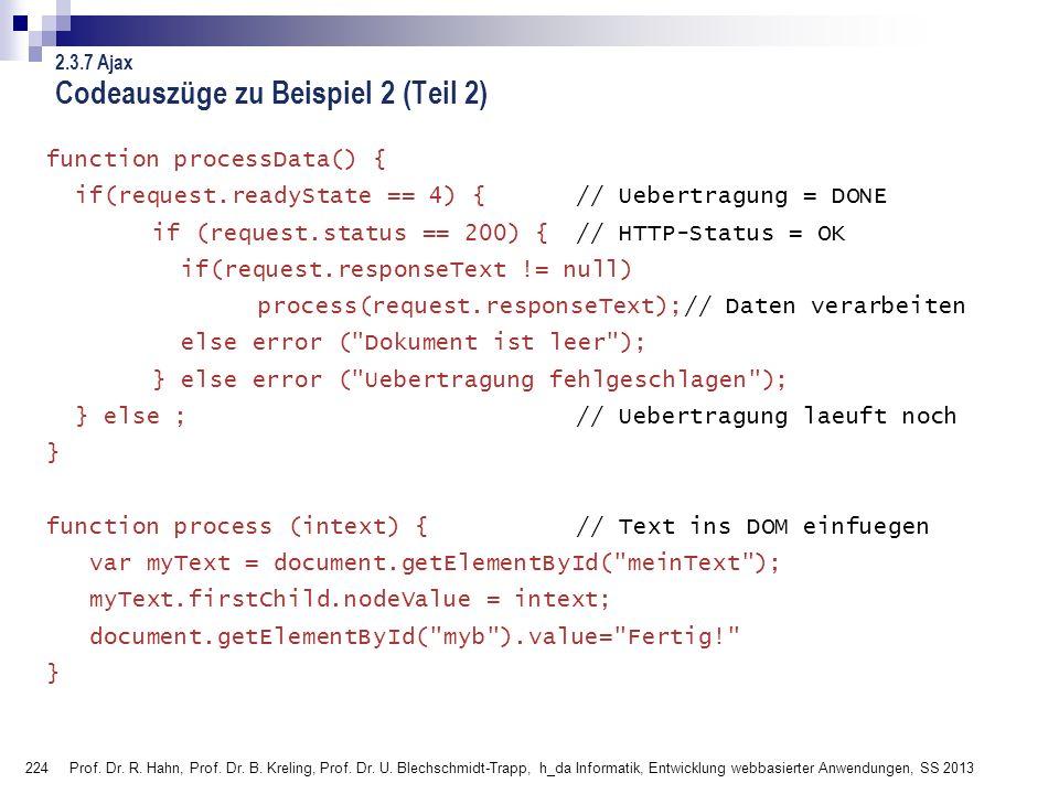 Codeauszüge zu Beispiel 2 (Teil 2)