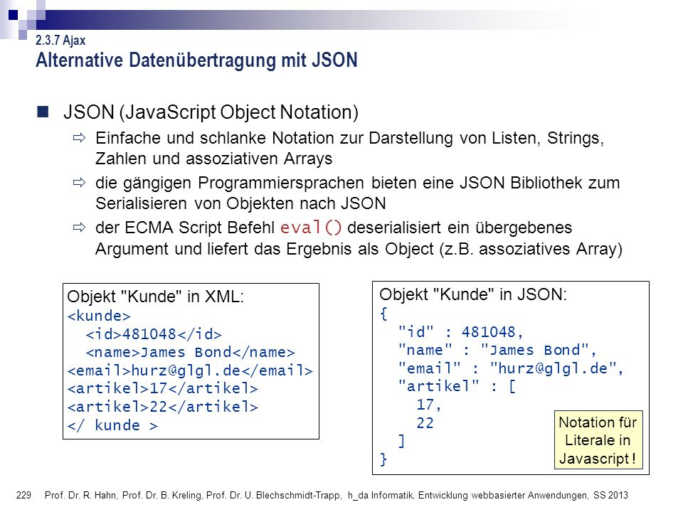 Alternative Datenübertragung mit JSON