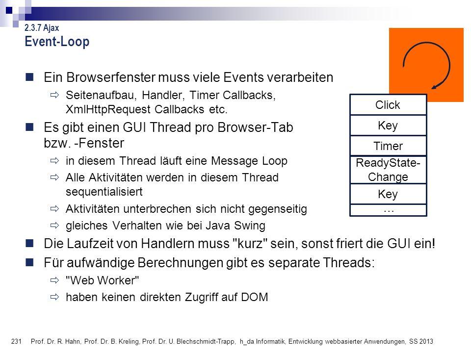 Event-Loop Ein Browserfenster muss viele Events verarbeiten