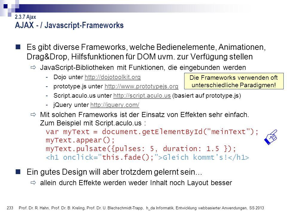 AJAX - / Javascript-Frameworks