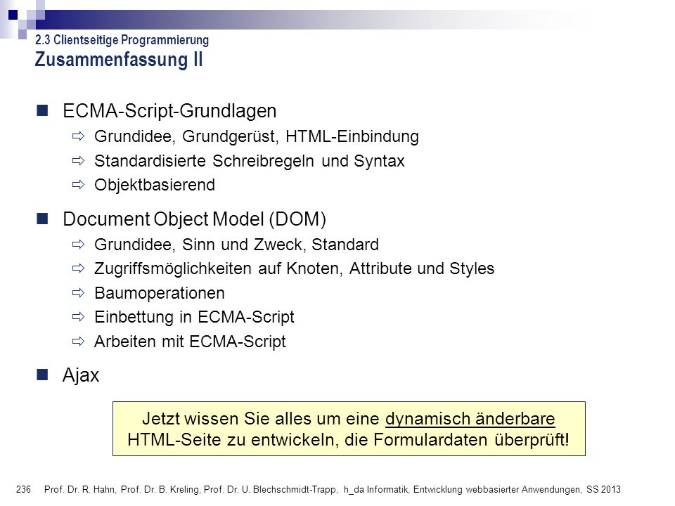 Zusammenfassung II ECMA-Script-Grundlagen Document Object Model (DOM)