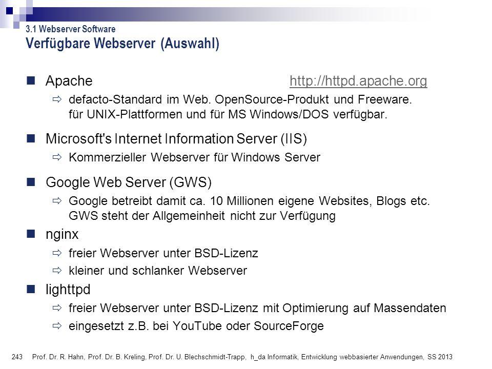 Verfügbare Webserver (Auswahl)