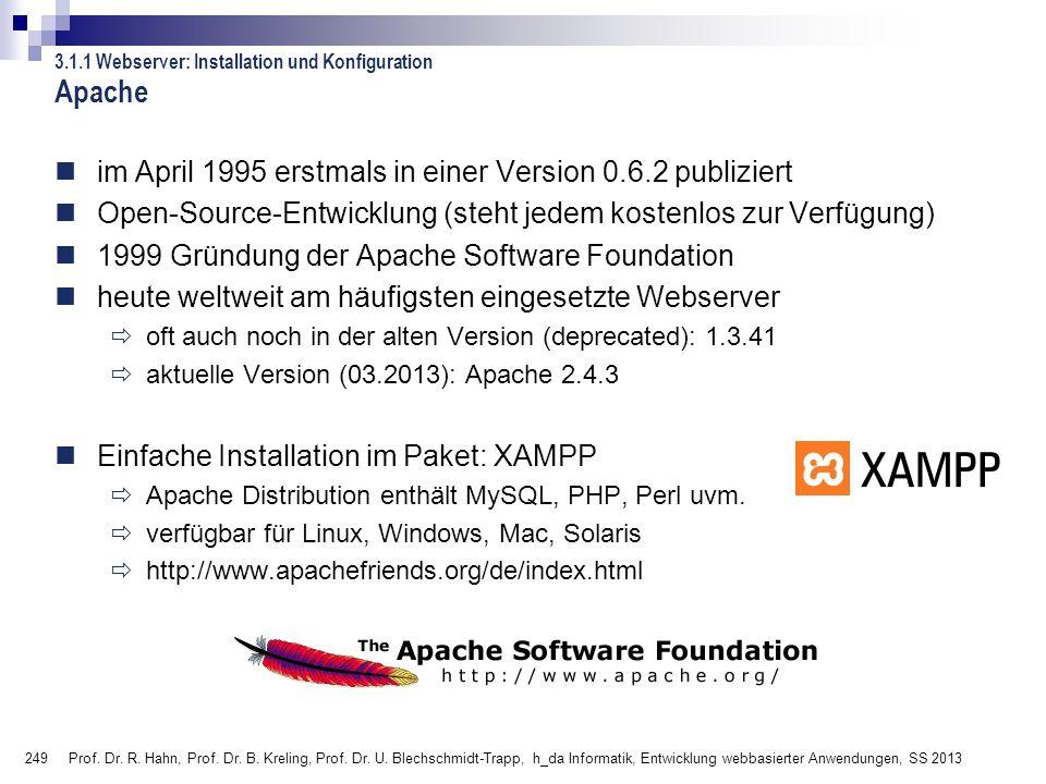 Apache im April 1995 erstmals in einer Version 0.6.2 publiziert