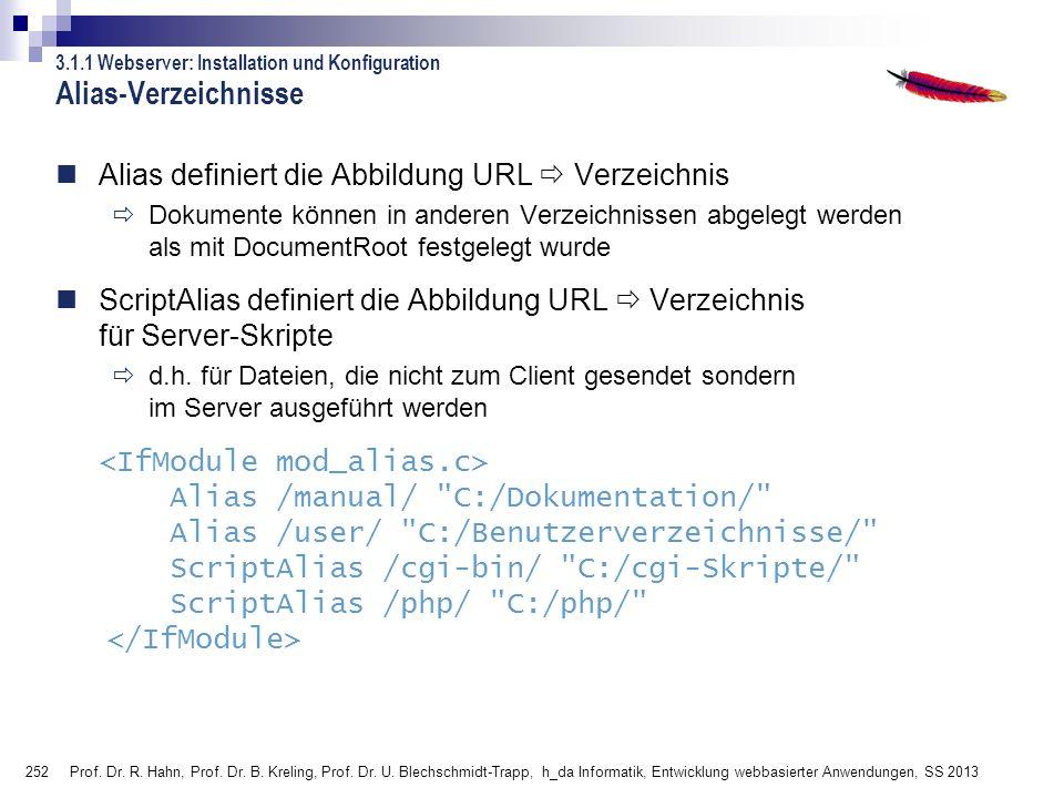 Alias-Verzeichnisse Alias definiert die Abbildung URL  Verzeichnis