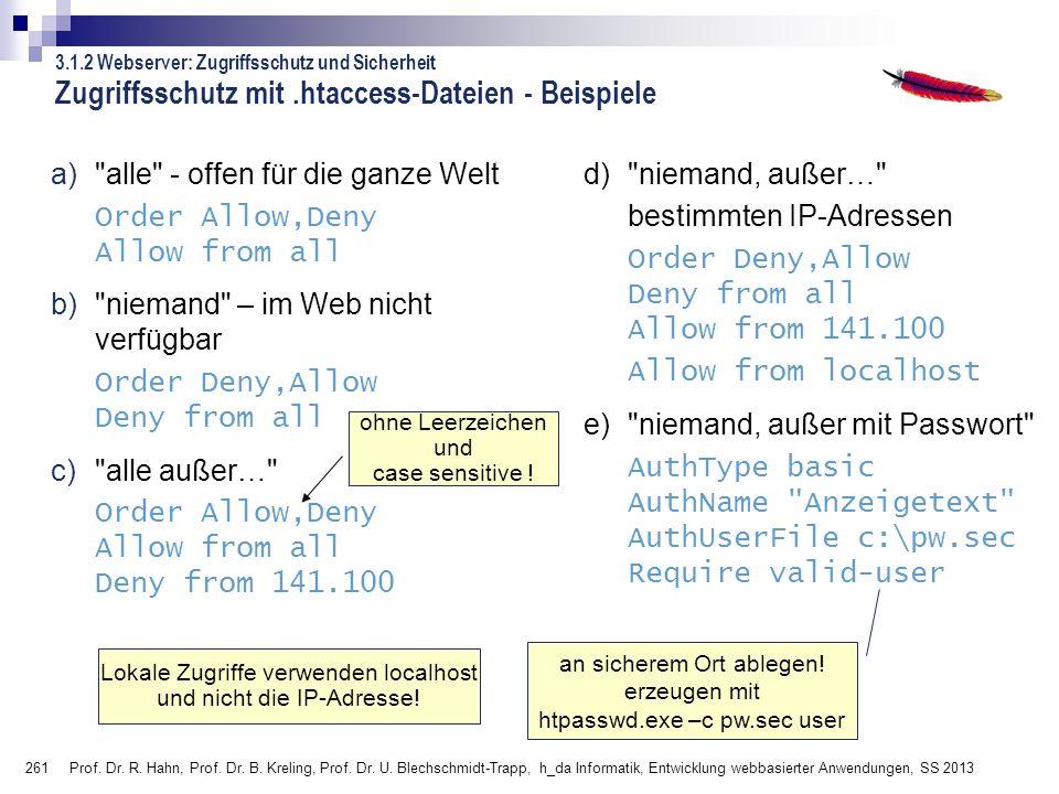 Zugriffsschutz mit .htaccess-Dateien - Beispiele