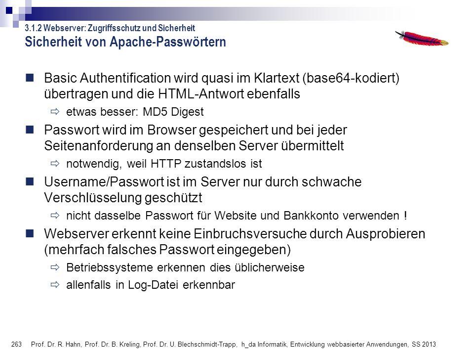 Sicherheit von Apache-Passwörtern