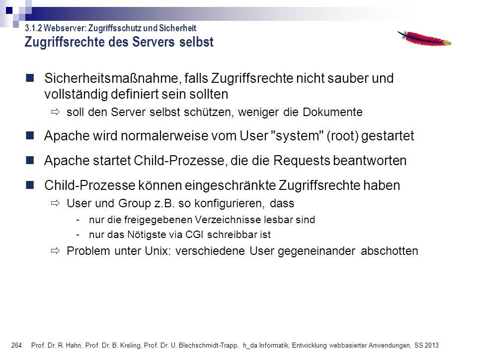 Zugriffsrechte des Servers selbst