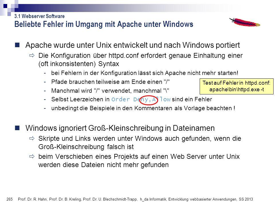 Beliebte Fehler im Umgang mit Apache unter Windows