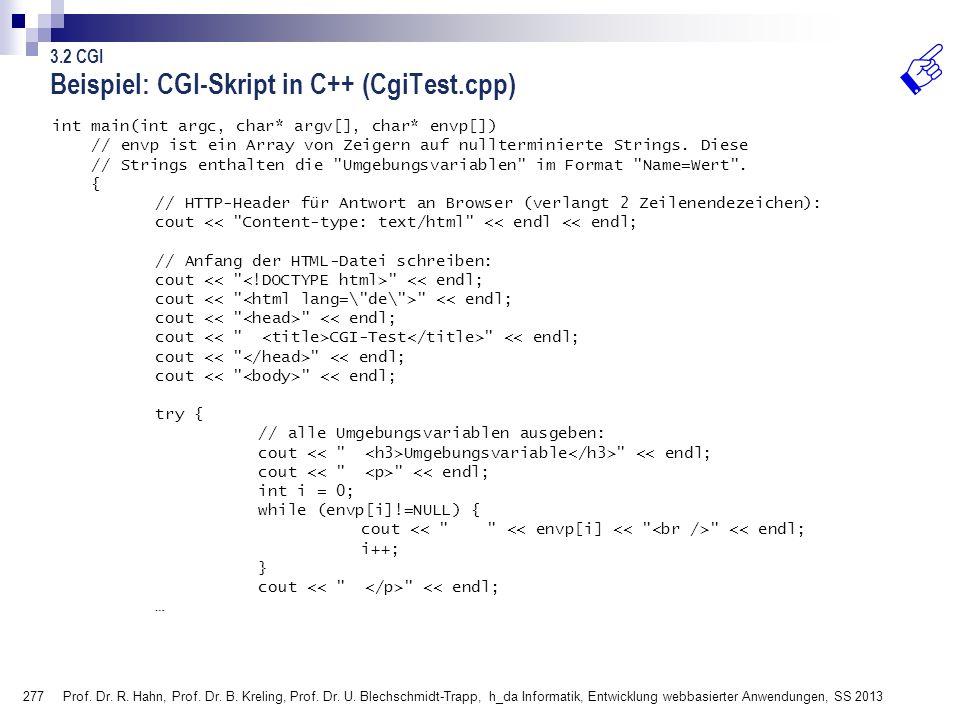 Beispiel: CGI-Skript in C++ (CgiTest.cpp)