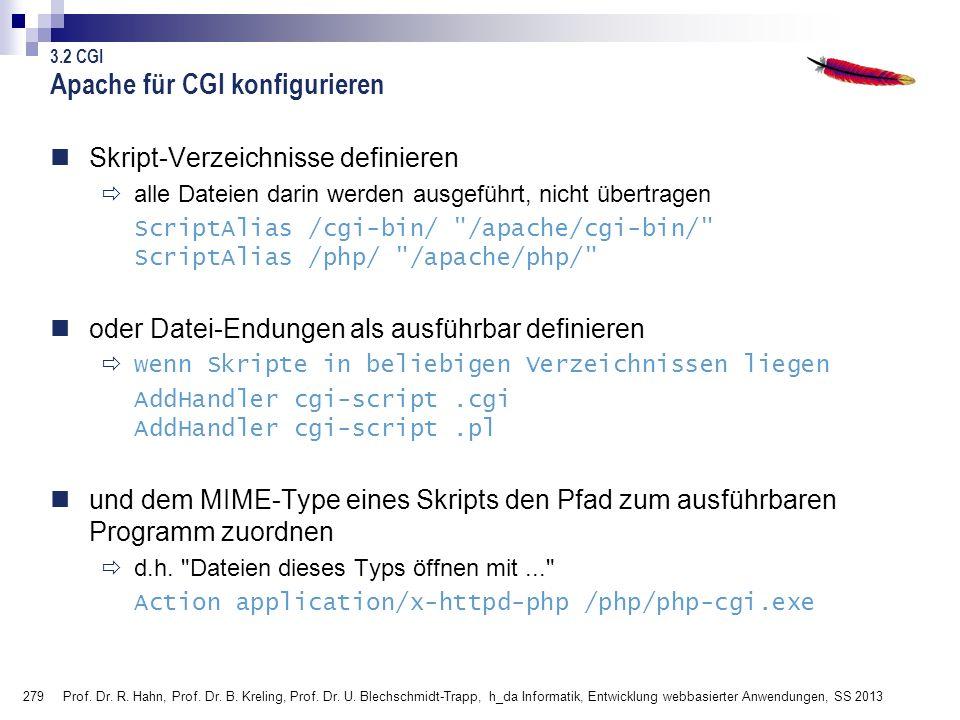 Apache für CGI konfigurieren