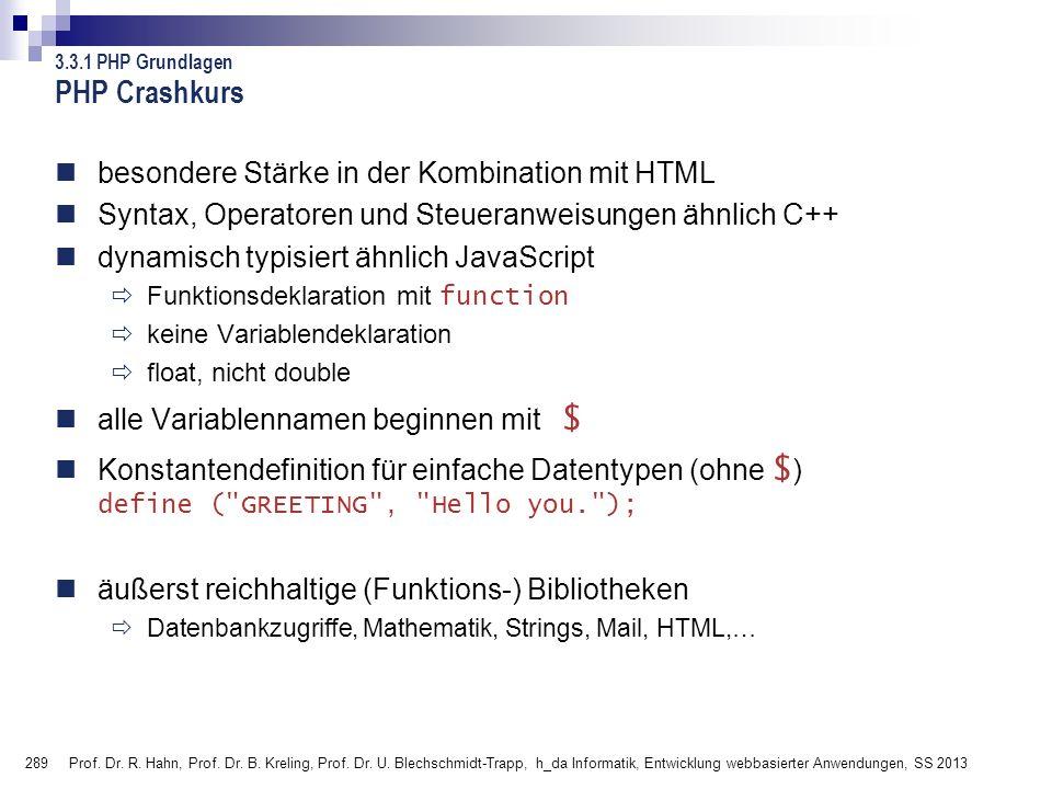 PHP Crashkurs besondere Stärke in der Kombination mit HTML