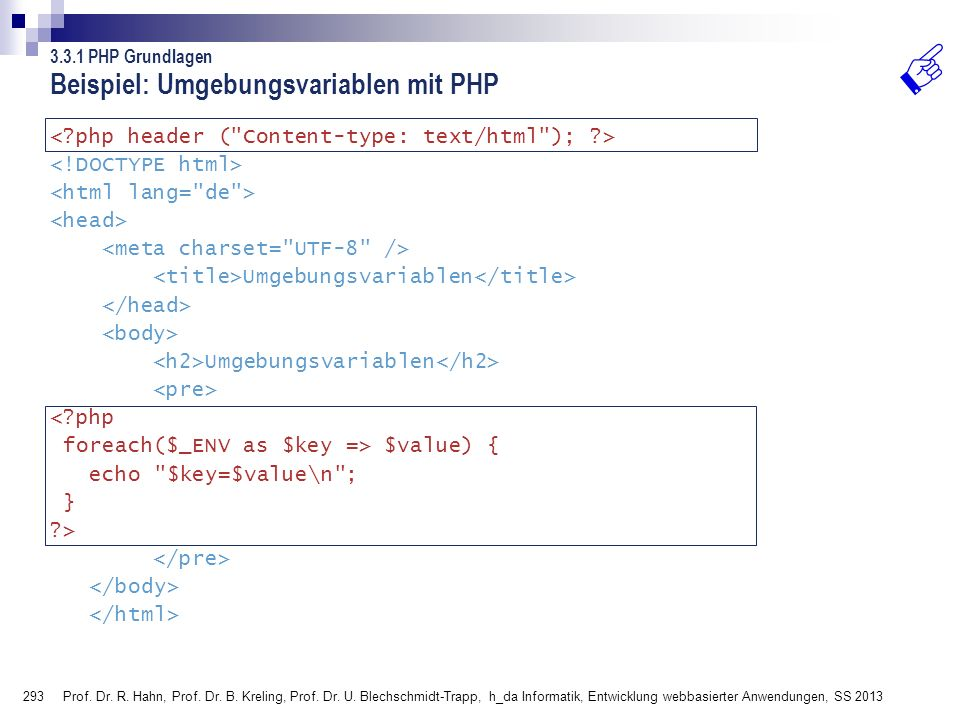 Beispiel: Umgebungsvariablen mit PHP
