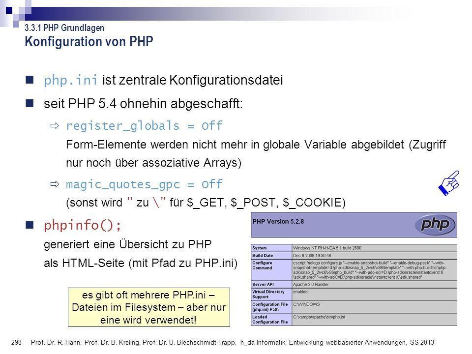 Konfiguration von PHP php.ini ist zentrale Konfigurationsdatei