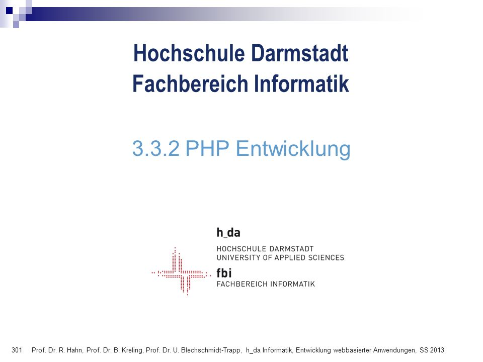 3.3.2 PHP Entwicklung