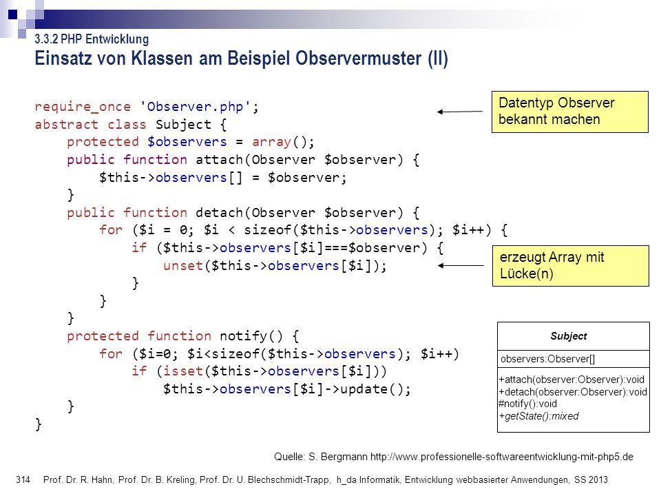 Einsatz von Klassen am Beispiel Observermuster (II)
