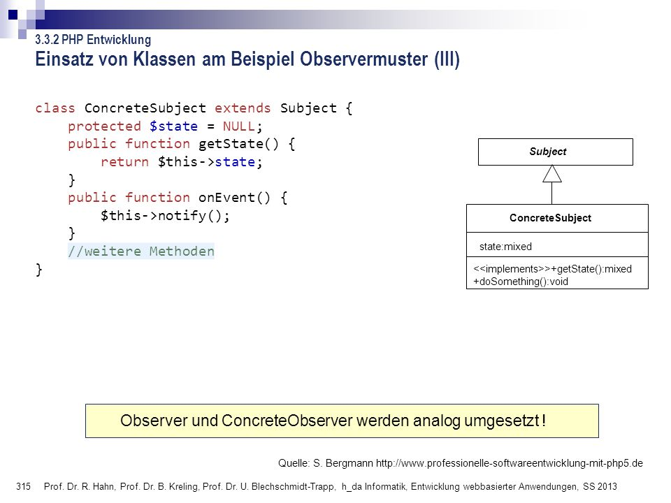 Einsatz von Klassen am Beispiel Observermuster (III)