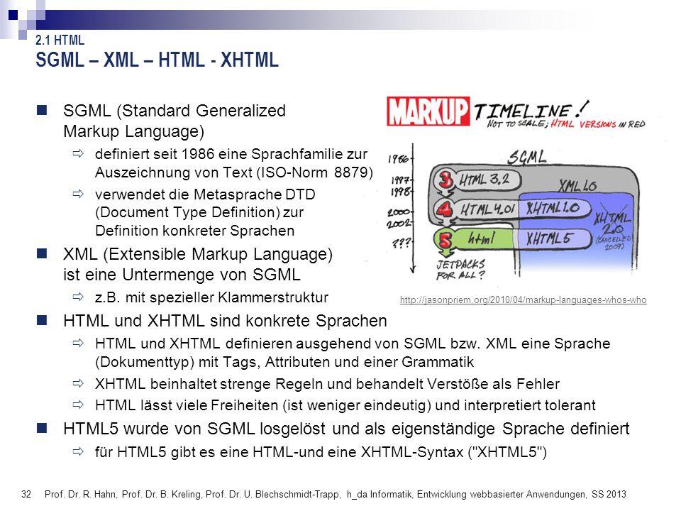 SGML – XML – HTML - XHTML SGML (Standard Generalized Markup Language)