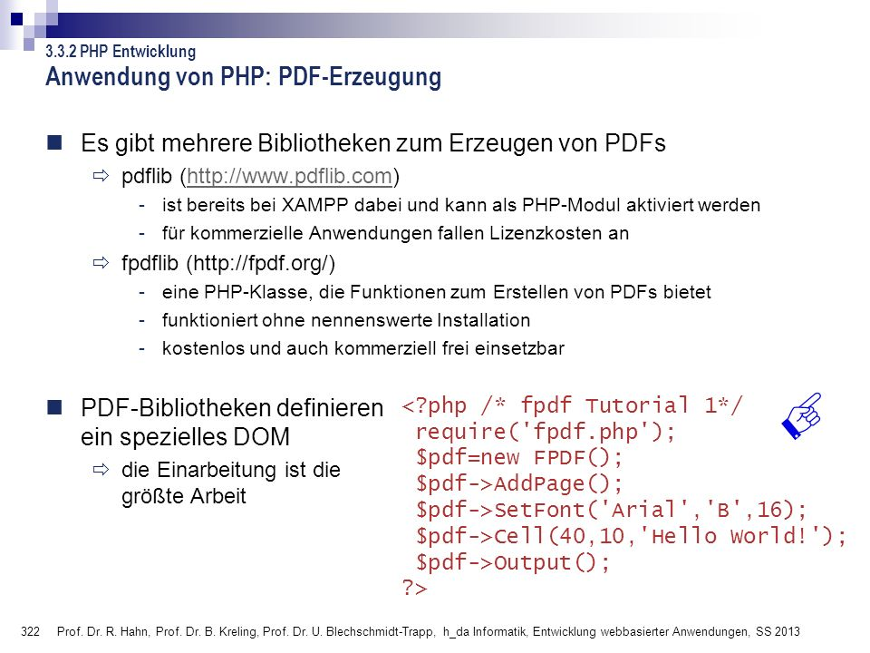 Anwendung von PHP: PDF-Erzeugung