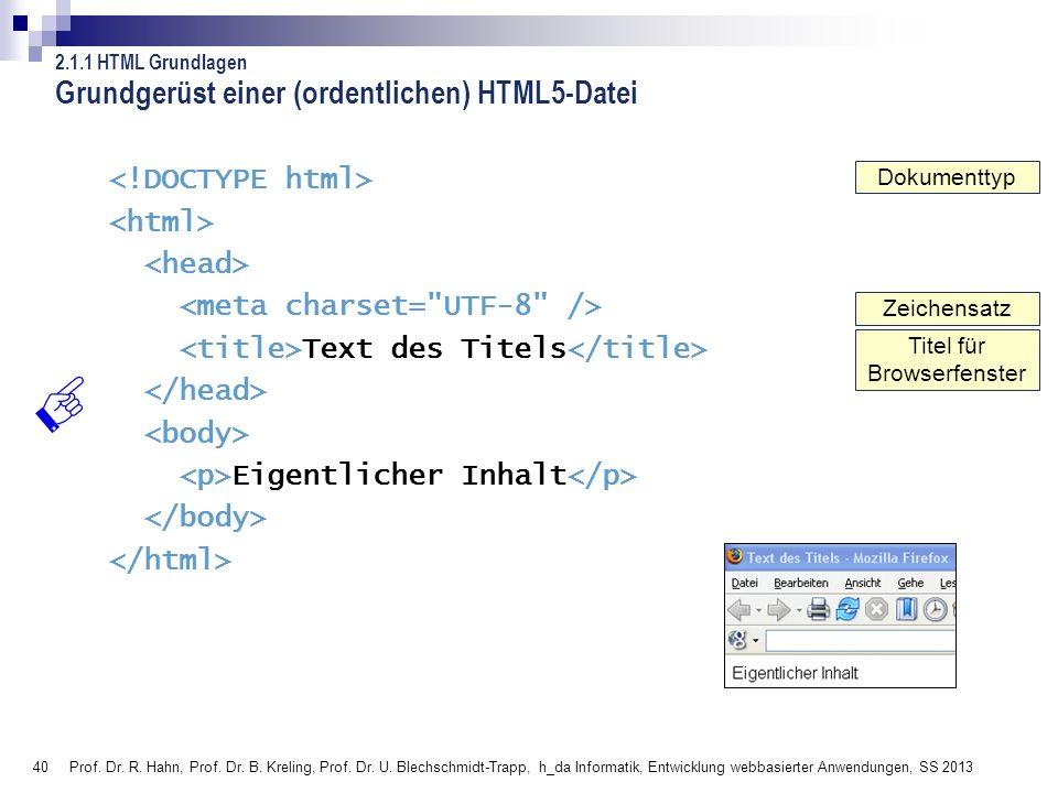 Grundgerüst einer (ordentlichen) HTML5-Datei