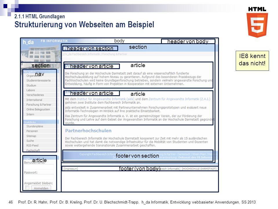 Strukturierung von Webseiten am Beispiel