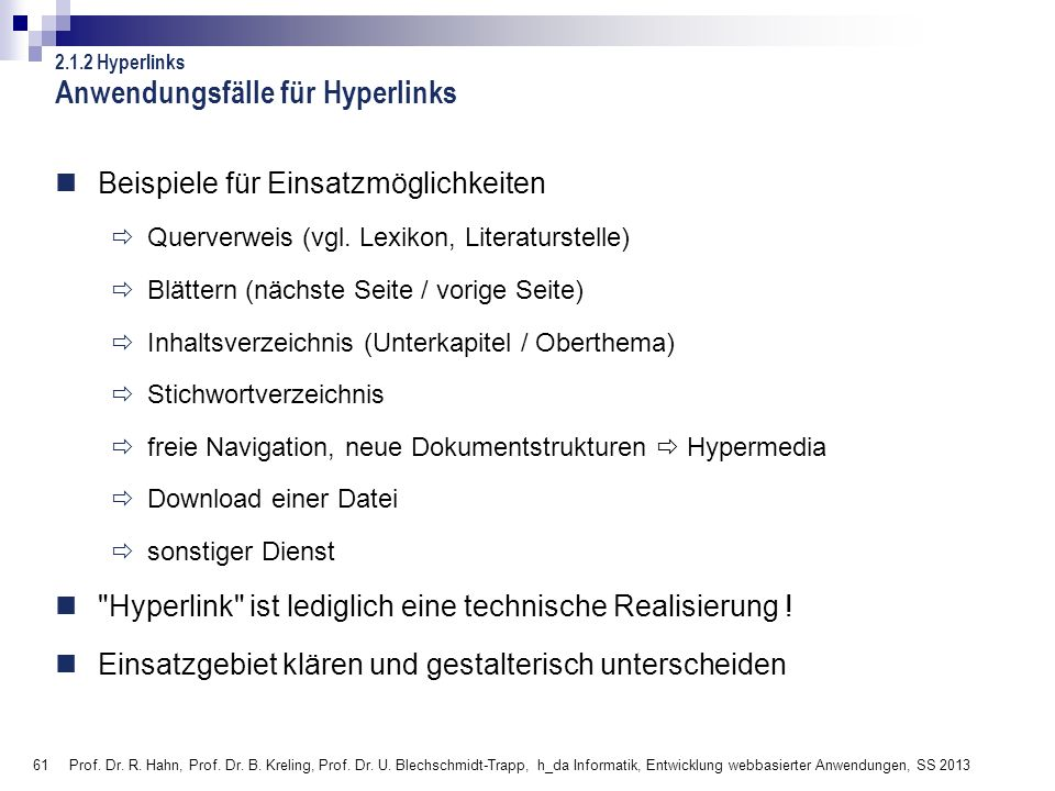 Anwendungsfälle für Hyperlinks