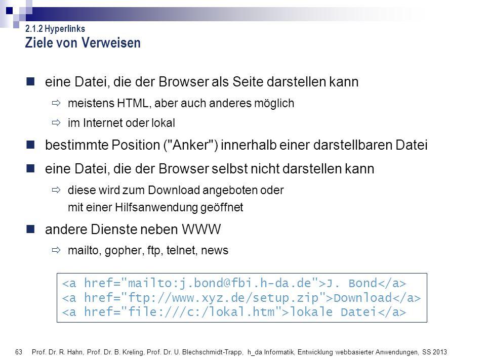 Ziele von Verweisen 2.1.2 Hyperlinks. eine Datei, die der Browser als Seite darstellen kann. meistens HTML, aber auch anderes möglich.