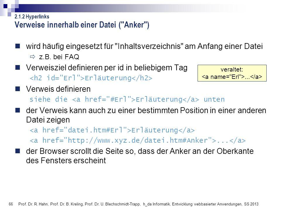 Verweise innerhalb einer Datei ( Anker )