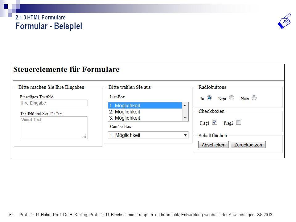 Formular - Beispiel 2.1.3 HTML Formulare