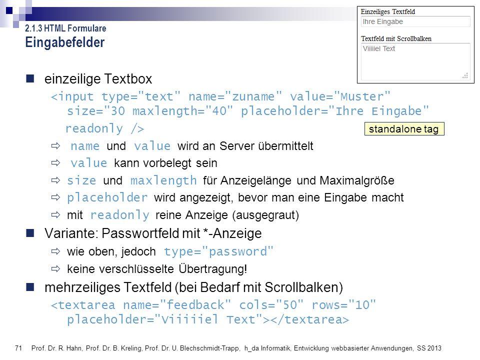 Eingabefelder einzeilige Textbox Variante: Passwortfeld mit *-Anzeige