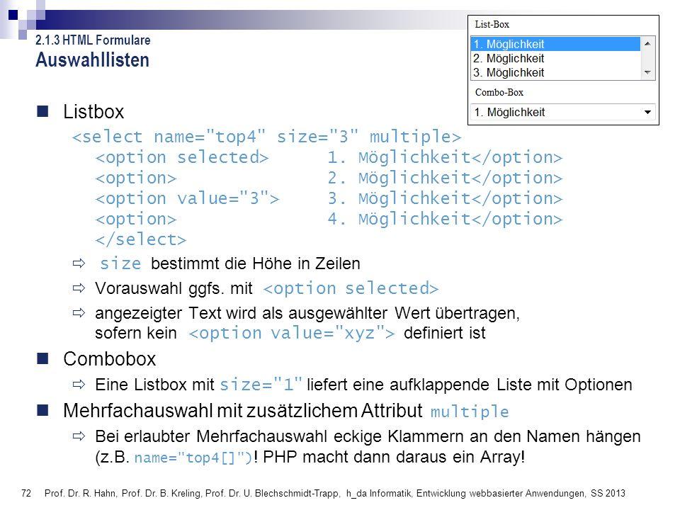 Auswahllisten Listbox Combobox