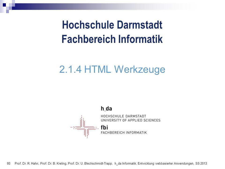 2.1.4 HTML Werkzeuge