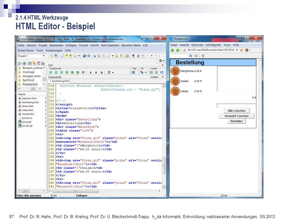 HTML Editor - Beispiel 2.1.4 HTML Werkzeuge